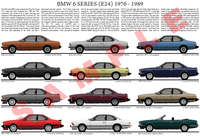 BMW E24 6 Series 1976 - 1989 car evolution poster