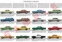 1968 Dodge Coronet model chart poster Deluxe 440 500 R/T Sup
