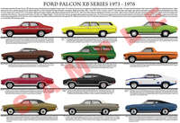 Ford XB Falcon car model chart poster print 1973 - 1976