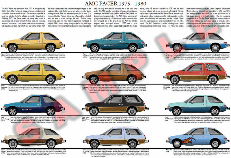 AMC Pacer model chart poster 1975 to 1980 D/L X Package Limited Sundowner