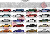 Lotus Esprit model chart poster S2 Essex Turbo S2.2 GT Sport