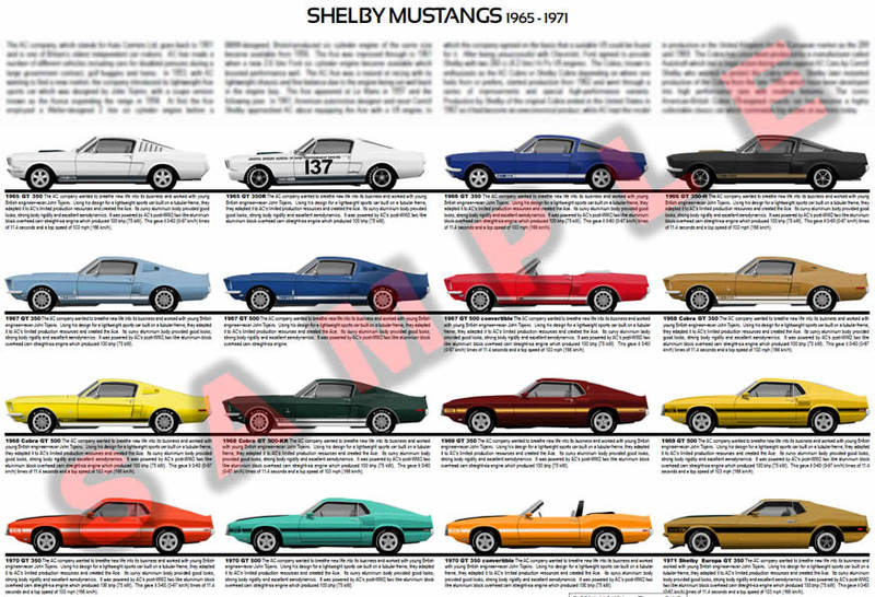 Shelby Mustangs evolution chart poster print GT 350 GT 500 350-H 500-KR Europa