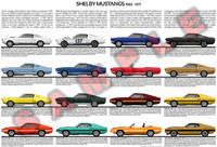 Shelby Mustangs evolution chart poster print GT 350 GT 500 3