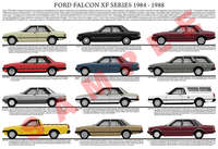 Ford XF series car model chart 1984 - 1988 poster