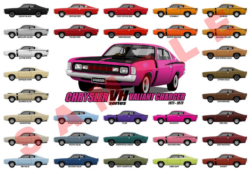 Customised Personalised Chrysler VH Valiant Charger poster Gift