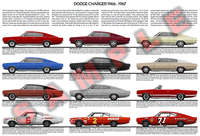 Dodge Charger first generation 1966 to 1967 evolution poster