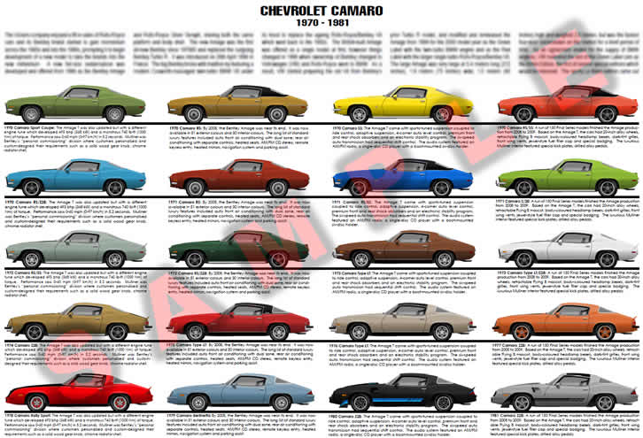 Chevrolet Camaro 1970 to 1981 second gen evoluition chart poster RS SS Z28