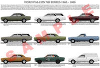 Ford XR series Falcon car model chart poster
