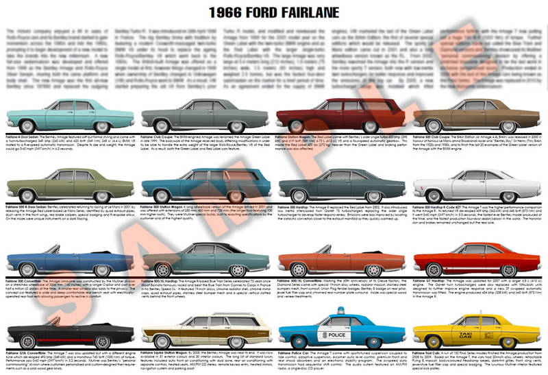 1966 Ford Fairlane model year poster Club Coupe 500 XL GT GTA 427 Squire