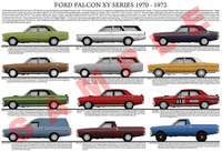 Ford XY Falcon car model chart poster print 1970 - 1972
