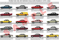 Ford XD XE XF Falcon family model chart poster
