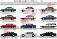 Ford EB series Falcon model chart 1991 - 1993 poster