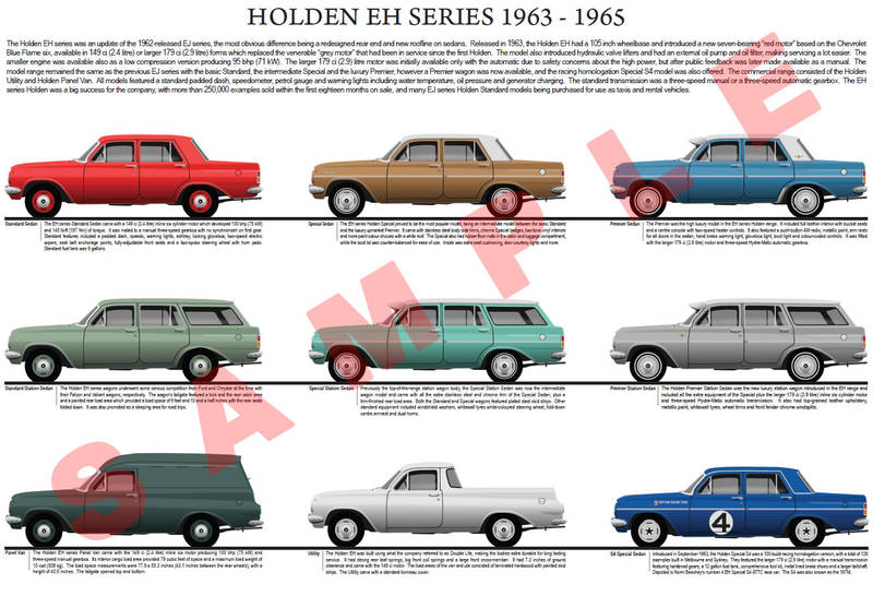 Holden EH series 1964 - 1965 model chart poster print