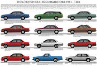 Holden VH Commodore series model chart 1981 - 1984 poster