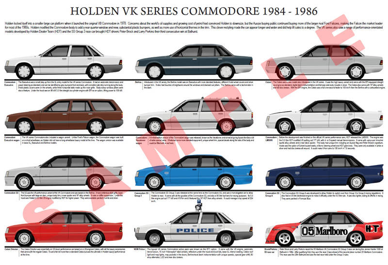 Holden VK Commodore series model chart 1984 - 1986