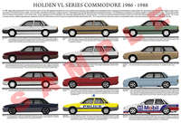 Holden VL Commodore series model chart 1986 - 1988 poster