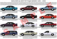 Holden VP Commodore series model chart poster
