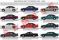 Holden VR Commodore series model chart poster