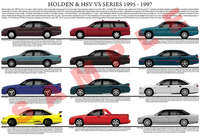 Holden VS Commodore series model chart poster