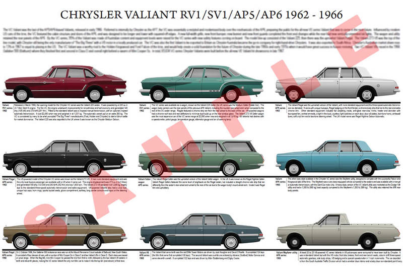 Chrysler SV1 RV1 AP5 AP6 early Valiant model chart poster print
