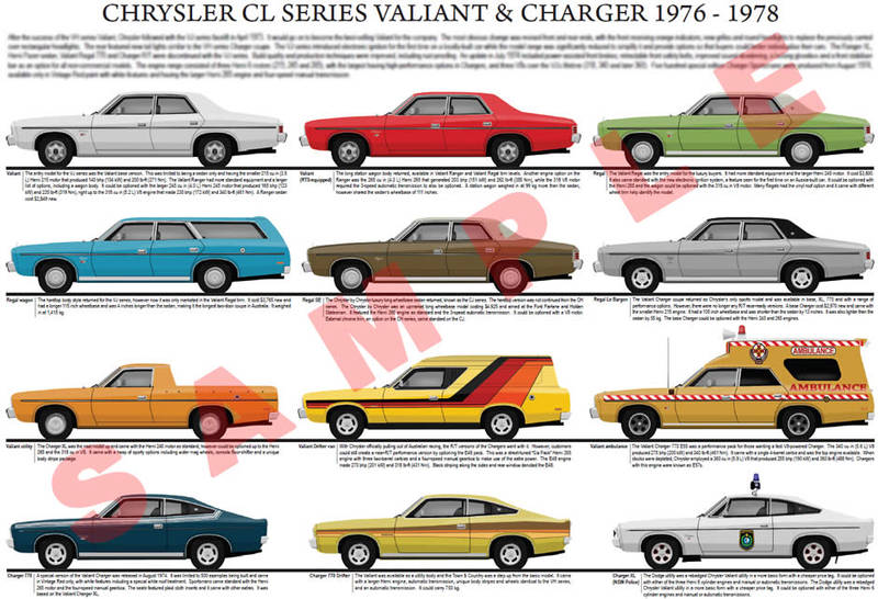 Chrysler CL series Valiant model chart