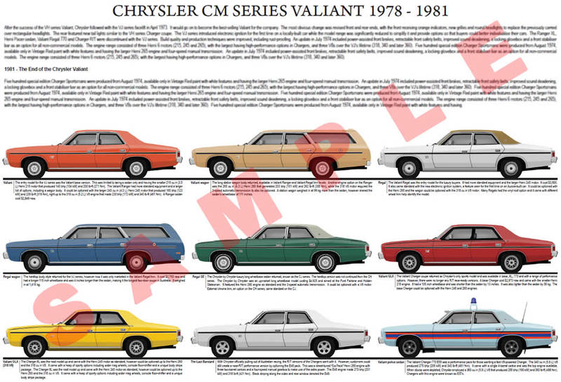 Chrysler CM series Valiant series model chart