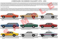 Chrysler CM series Valiant series model chart poster