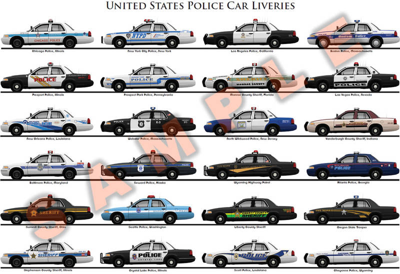 United States police car liveries poster