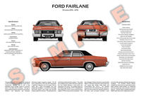 Ford ZH Fairlane customisable 3-view poster