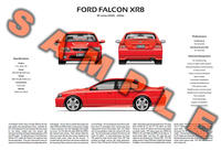 Ford BA BF Falcon XR6 XR8 personalised 3-view poster