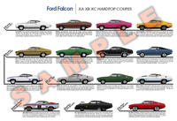 Ford Falcon Hardtop Coupes XA XB XC only poster P5 GT Landau