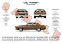 Ford XC Falcon personalised 3-view print Fairmont GLX GS 351