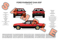 Ford XE Fairmont Ghia ESP personalised 3-view poster