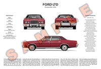 Ford P6 LTD customisable 3-view poster