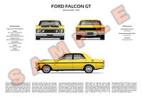 Ford XW Falcon personalised 3-view print GT Fairmont GTHO