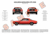 Holden HQ Monaro GTS 3-Way Customised Poster Print