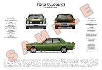 Ford XY Falcon personalised 3-view print GT Fairmont GTHO
