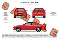 Ford AU Falcon personalised 3-view poster print XR6 XR8 FTE