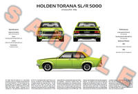 Holden Torana LH or LX series personalised poster SS L34 A9X