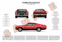 Ford XA Falcon personalised 3-view print GT Fairmont 351
